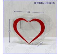 Ударопрочный ящик для пожертвований виде сердца (урна для голосования, копилка)C2 - 35х26х20