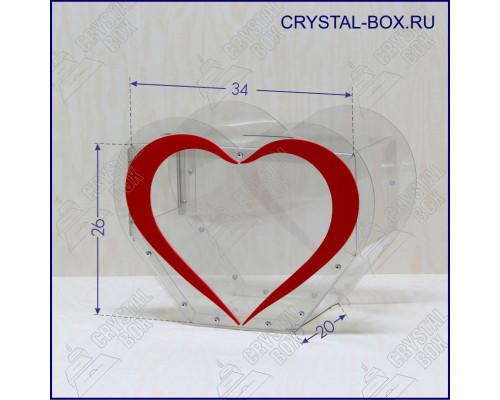 Бокс C2 - 35х26х20 (Ящик для пожертвований, голосований, анкет, копилка в форме сердца)
