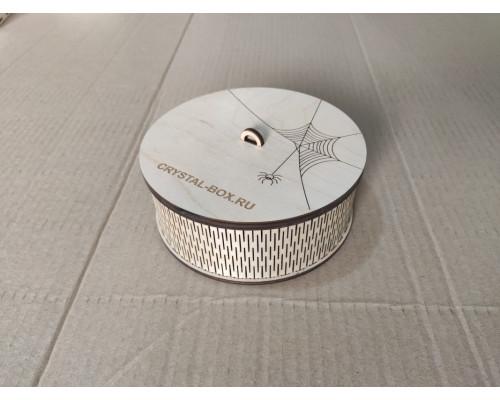 Круглая коробка-шкатулка из фанеры диаметр 150мм.